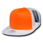 Custom Flat Bill Neon Trucker Foam Mesh Hat (Embroidered with Logo) - White/Neon Orange - Decky 222