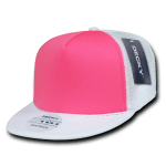 Custom Flat Bill Neon Trucker Foam Mesh Hat (Embroidered with Logo) - White/Neon Pink - Decky 222
