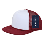 Custom Two-Tone Flat Bill Trucker Foam Mesh Hat (Embroidered with Logo) - Cardinal - Decky 224