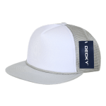 Custom Two-Tone Flat Bill Trucker Foam Mesh Hat (Embroidered with Logo) - Grey - Decky 224