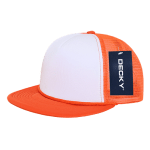 Custom Two-Tone Flat Bill Trucker Foam Mesh Hat (Embroidered with Logo) - Orange - Decky 224
