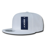 Custom Solid Color Classic Snapback Flat Bill Hat (Embroidered with Logo) - White - Decky 350
