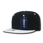 Custom Two-Tone Classic Snapback Flat Bill Hat (Embroidered with Logo) - Black/White - Decky 351