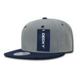 Custom Two-Tone Classic Snapback Flat Bill Hat (Embroidered with Logo) - Grey/Navy - Decky 351