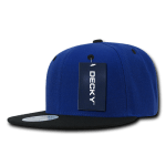 Custom Two-Tone Classic Snapback Flat Bill Hat (Embroidered with Logo) - Royal/Black - Decky 351