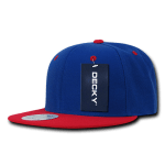 Custom Two-Tone Classic Snapback Flat Bill Hat (Embroidered with Logo) - Royal/Red - Decky 351