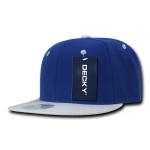 Custom Two-Tone Classic Snapback Flat Bill Hat (Embroidered with Logo) - Royal/White - Decky 351