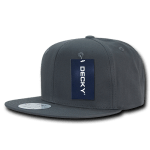 Custom Cotton Snapback Flat Bill Hat (Embroidered with Logo) - Charcoal - Decky 361