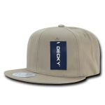 Custom Cotton Snapback Flat Bill Hat (Embroidered with Logo) - Khaki - Decky 361