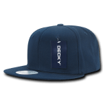 Custom Cotton Snapback Flat Bill Hat (Embroidered with Logo) - Navy - Decky 361