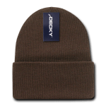 Custom Acrylic Long Knit Beanies (with cuff) (Embroidered with Logo) - Brown - Decky 613