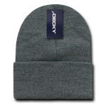 Custom Acrylic Long Knit Beanies (with cuff) (Embroidered with Logo) - Heather Charcoal - Decky 613