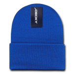 Custom Acrylic Long Knit Beanies (with cuff) (Embroidered with Logo) - Royal - Decky 613