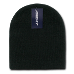 Custom Acrylic Short Knit Beanies (no cuff) (Embroidered with Logo) - Black - Decky 614