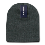 Custom Acrylic Short Knit Beanies (no cuff) (Embroidered with Logo) - Heather Charcoal - Decky 614