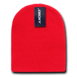 Custom Acrylic Short Knit Beanies (no cuff) (Embroidered with Logo) - Red - Decky 614