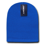 Custom Acrylic Short Knit Beanies (no cuff) (Embroidered with Logo) - Royal - Decky 614