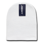Custom Acrylic Short Knit Beanies (no cuff) (Embroidered with Logo) - White - Decky 614