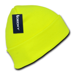 Custom Neon Acrylic Long Beanies (with cuff) (Embroidered with Logo) - Neon Yellow - Decky 813