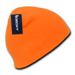 Custom Neon Acrylic Short Beanies (no cuff) (Embroidered with Logo) - Neon Orange - Decky 814