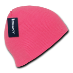 Custom Neon Acrylic Short Beanies (no cuff) (Embroidered with Logo) - Neon Pink - Decky 814
