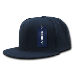 Custom Snapback Flat Bill Flex Hat (Embroidered with Logo) - Navy - Decky 873