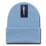 Custom Long Beanies (with cuff) (Embroidered with Logo) - Light Blue - Decky KC