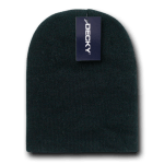 Custom Short Beanies (no cuff) (Embroidered with Logo) - Black - Decky KCS