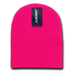 Custom Short Beanies (no cuff) (Embroidered with Logo) - Hot Pink - Decky KCS