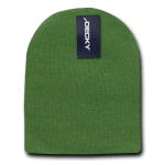 Custom Short Beanies (no cuff) (Embroidered with Logo) - Olive - Decky KCS