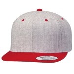 Custom Yupoong Classic Snapback 2-Tone Flat Bill Hat (Embroidered with Logo) - Heather/Red - Yupoong 6089MT