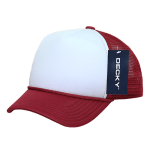 Custom Youth Trucker Mesh Baseball Hat (Embroidered with Logo) - Cardinal/White - Decky 7010