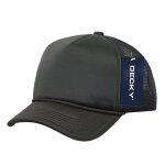 Custom Youth Trucker Mesh Baseball Hat (Embroidered with Logo) - Charcoal - Decky 7010