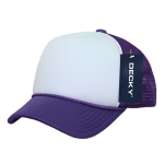 Custom Youth Trucker Mesh Baseball Hat (Embroidered with Logo) - Purple/White - Decky 7010