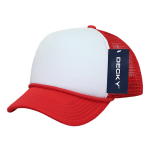Custom Youth Trucker Mesh Baseball Hat (Embroidered with Logo) - Red/White - Decky 7010