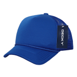 Custom Youth Trucker Mesh Baseball Hat (Embroidered with Logo) - Royal - Decky 7010