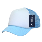 Custom Youth Trucker Mesh Baseball Hat (Embroidered with Logo) - Sky/White - Decky 7010