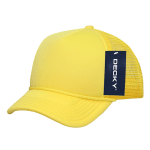 Custom Youth Trucker Mesh Baseball Hat (Embroidered with Logo) - Yellow - Decky 7010