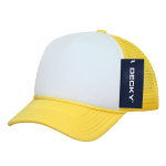 Custom Youth Trucker Mesh Baseball Hat (Embroidered with Logo) - Yellow/White - Decky 7010