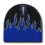 Custom Kids' Fire Knit Beanies (Embroidered with Logo) - Black/Blue/Grey - Decky 9055
