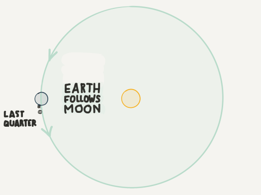 Last quarter moon helps you see where the earth is going in the orbital direction