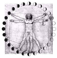 Physical astronomy definition using Leonardo DaVinci's Vitruvian Man drawing surrounded by moon phase images