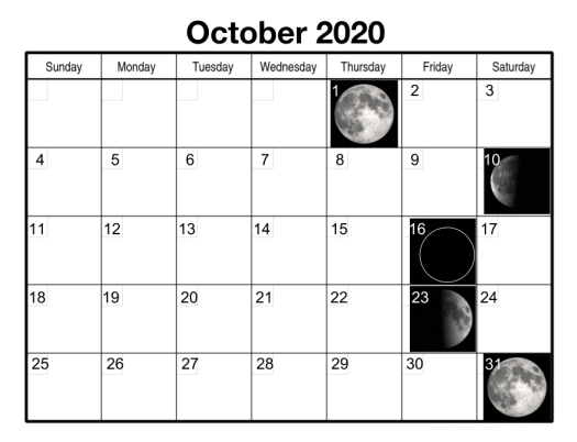 The October 2020 calendar month contains two full moons so the second one is called a Blue Moon.