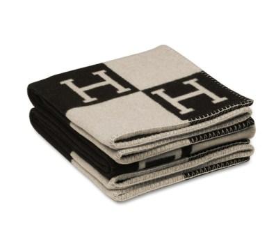 Hermes Black & White Blanket