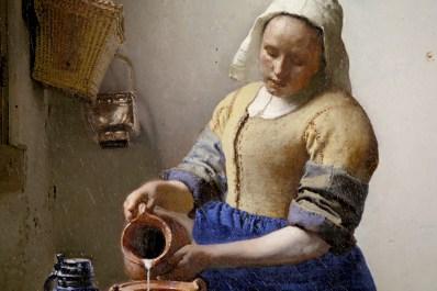 """Ausschnitt des berühmten Ölgemäldes """"""""Dienstmagd mit Milchkrug"""""""" des holländischen Barockmalers Jan Vermeer van Delf - ARTE France © Martange Production"""