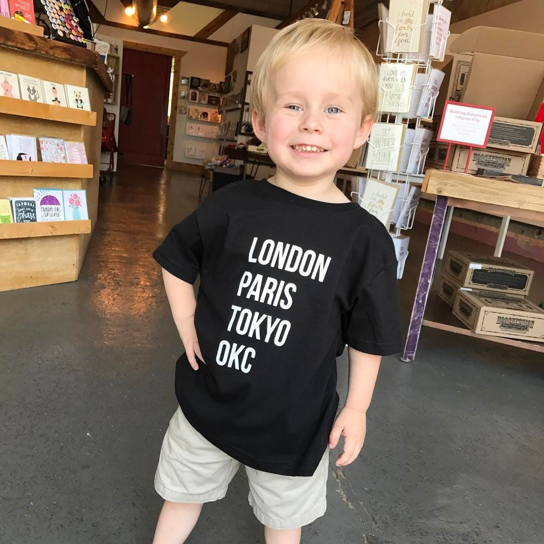 Stark and Basic London Paris Tokyo OKC toddler shirt