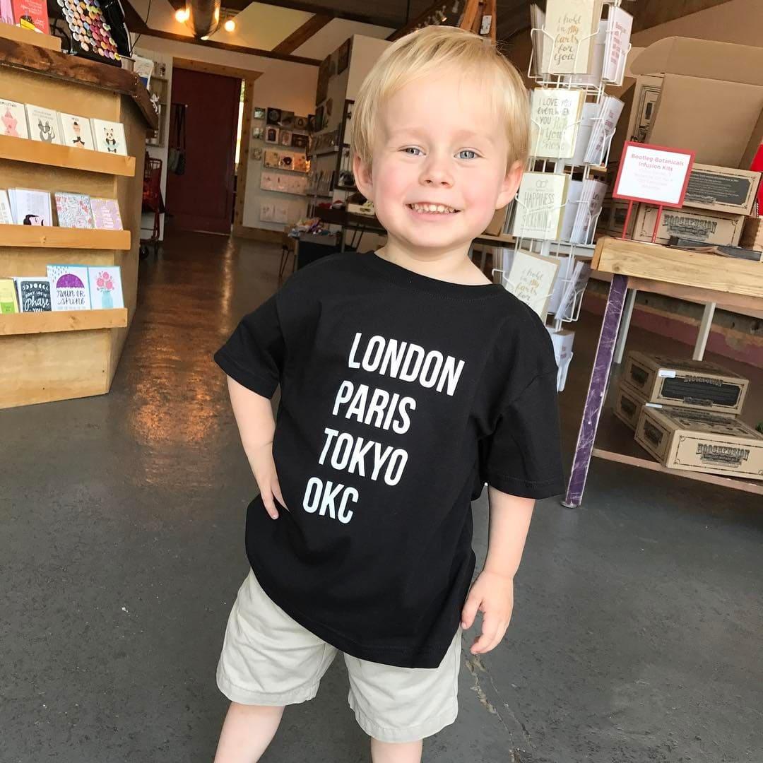 Stark and Basic London Paris Tokyo OKC toddler shirt