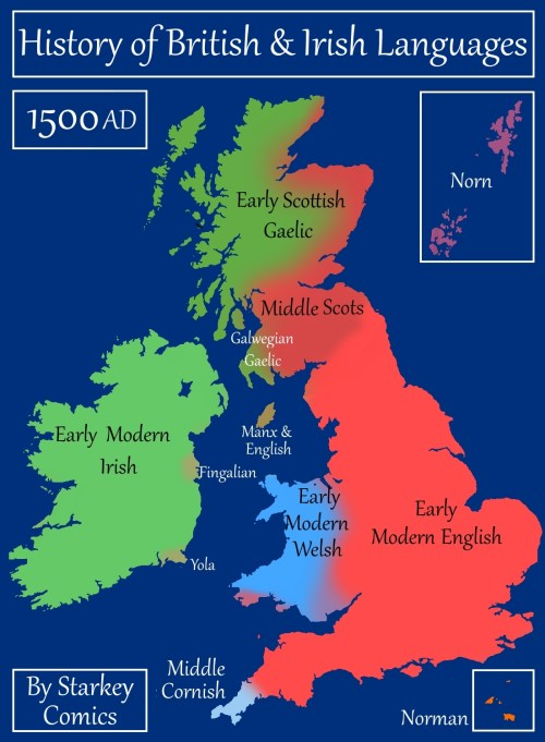 Map Of Ireland England.A Brief History Of British And Irish Languages Starkey Comics