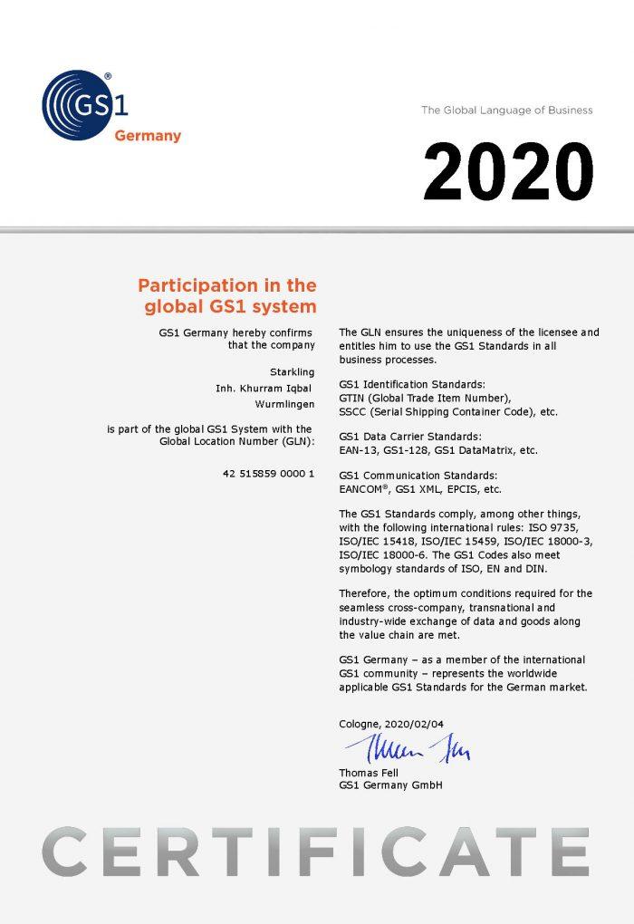 GS1 Certificate EN GLN 2020 700x1020