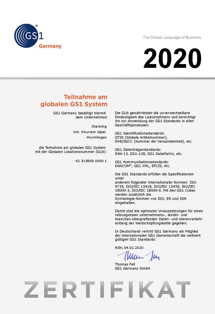 GS1 Zertifikat DE GLN 2020 700x1020